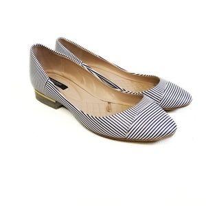 ZARA Womens Navy Blue Striped Flats Shoes Size 8